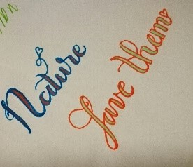 """a picture of a drawing of """"Nature Love Them"""""""