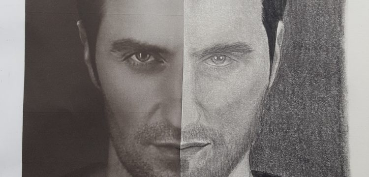 a pencil drawing of Richard Armitage's face with a paralleled black-and-white-shot of Armitage that the drawing was based on