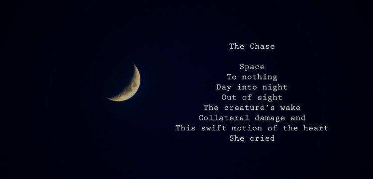 a night sky with a crescent moon and a poem inscribed next to it